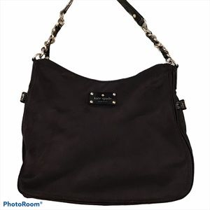 Kate Spade Black Nylon Shoulder Bag Silver Chain